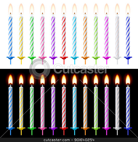 Candles Set stock photo, Candles Set. Illustration on white and black background by dvarg