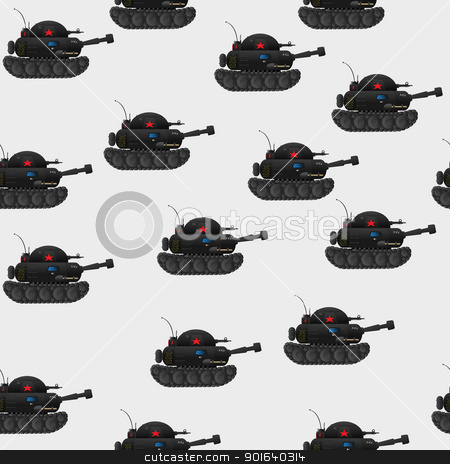 Tank pattern stock vector clipart, Cartoon style seamless pattern with red star tanks by Richard Laschon