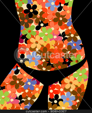 Bikini girl stock vector clipart, Conceptual background graphic with a bikini girl silhouette and floral pattern by Richard Laschon
