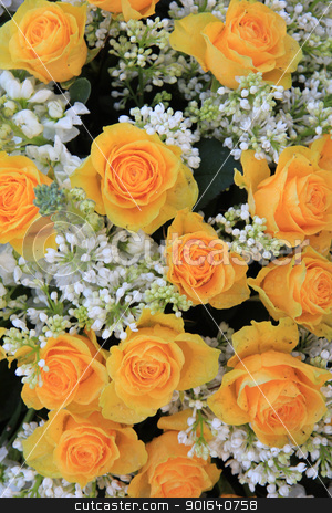 yellow rose bouquet stock photo, a yellow rose bouquet with white syringas by Porto Sabbia