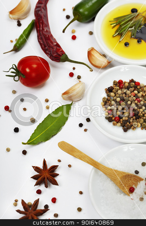 Olive oil and spices stock photo, Olive oil, pepper, salt and  fresh herbs and spices by klenova