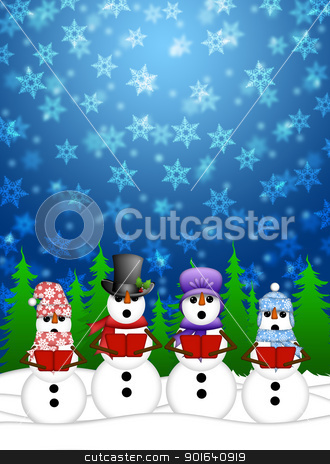 Snowman Carolers Singing with Winter Snowing Scene Illustration stock photo, Snowman Carolers Singing Christmas Songs with Snowing Winter Scene Illustration by Thye Gn