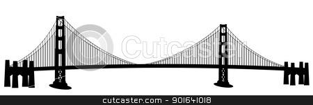 San Francisco Golden Gate Bridge Clip Art stock photo, San Francisco Golden Gate Bridge Black and White Clip Art by Jit Lim