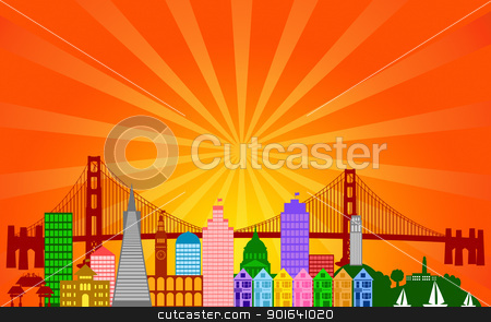 San Francisco City Skyline Panorama stock photo, San Francisco California City Skyline Panorama Color Silhouette with Sun Rays Clip Art Illustration by Jit Lim