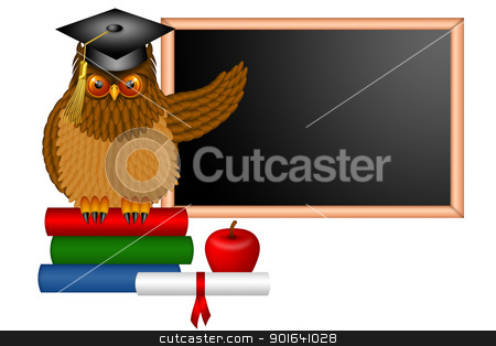 Wise Owl Professor Illustration stock photo, Wise Horned Owl Professor Sitting on Books with Chalkboard Apple Diploma and Books in Classroom Illustration by Jit Lim