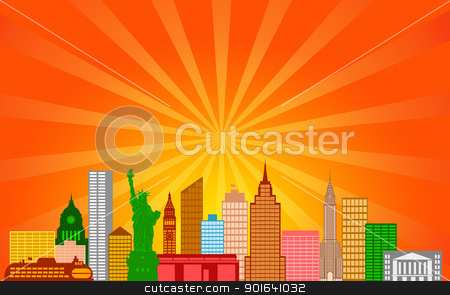 New York City Skyline Panorama stock photo, New York City Skyline Panorama Color Silhouette with Sun Rays Clip Art Illustration by Jit Lim