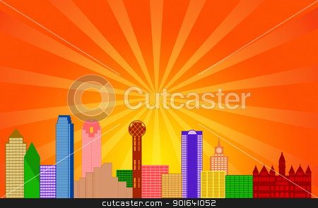 Dallas Texas City Skyline Panorama stock photo, Dallas Texas City Skyline Panorama Color Silhouette with Sun Rays Clip Art Illustration by Jit Lim