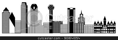 Dallas City Skyline Panorama Clip Art stock photo, Dallas Texas City Skyline Panorama Black and White Silhouette Clip Art Illustration by Jit Lim