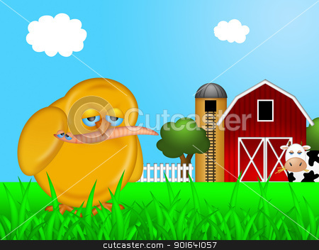 Chick Eating Worm in Farm stock photo, Chick Eating Worm on Farm with Red Barn and Silo with Cow Illustration by Jit Lim