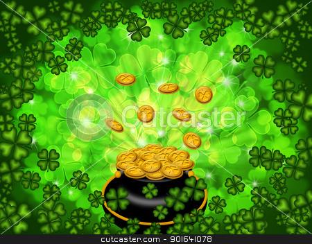 Pot of Gold on Shamrock Four Leaf Clover Background stock photo, St Patricks Day Pot of Gold on Four Leaf Clover Shamrock with Blurred Background by Jit Lim