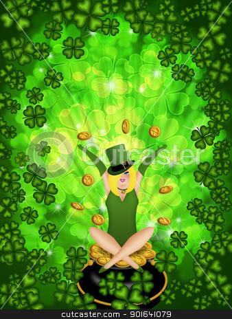 Girl Leprechaun Shamrock Four Leaf Clover Background stock photo, St Patricks Day Girl Leprechaun on Four Leaf Clover Shamrock with Blurred Background by Jit Lim