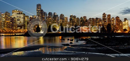 Vancouver BC City Skyline and Deadman's Island stock photo, Vancouver BC Canada City Skyline and Deadman's Island at Night Panorama by Jit Lim