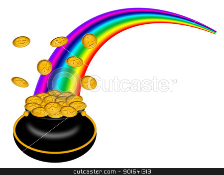 Saint Patricks Day Pot of Gold with Rainbow stock photo, Saint Patricks Day Pot of Gold with Shamrock Coins and Rainbow Illustration by Jit Lim
