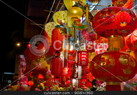 Chinese New Year Lanterns on Storefront stock photo, Chinese New Year Lanterns on Storefront along Street in Chinatown by Jit Lim