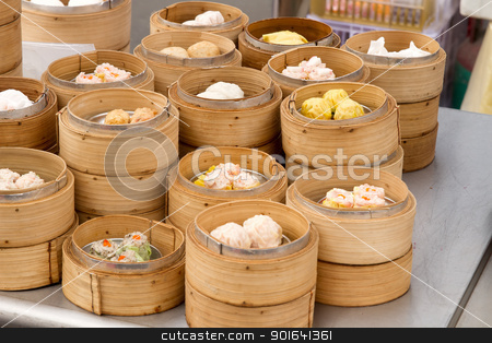 Steamed Dim Sum in Bamboo Trays stock photo, Steamed Dim Sum in Bamboo Trays by Local Street Food Vendors in Melaka Malaysia by Jit Lim
