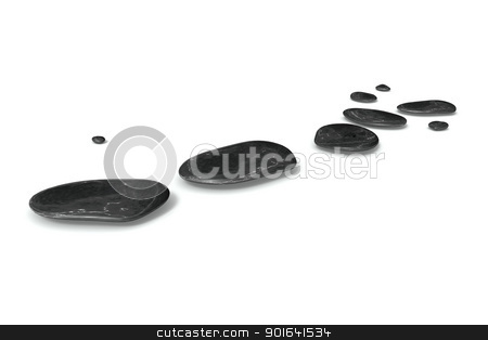 black pebbles stock photo, An image of some black pebbles on white baclground by Markus Gann