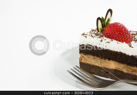 Piece of chocolate cake with strawberry decorate on top stock photo, Piece of chocolate cake with strawberry decorate on top by pixs4u