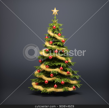 Christmas tree  stock photo, Christmas tree on a dark background by Mopic
