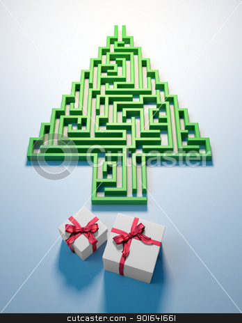 Christmas Tree maze stock photo, Christmas Tree shaped maze leading to gifts by Mopic