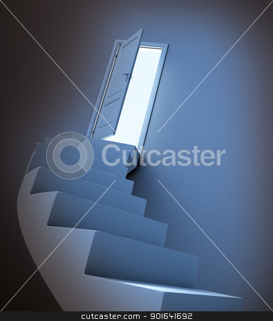 Abstract stairway  stock photo, Abstract stairway leading to light by Mopic