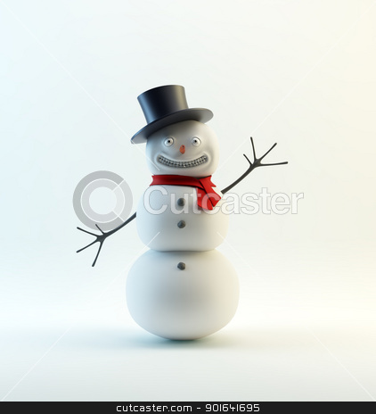 smiling snowman stock photo, A waving, smiling snowman  with a red scarf by Mopic