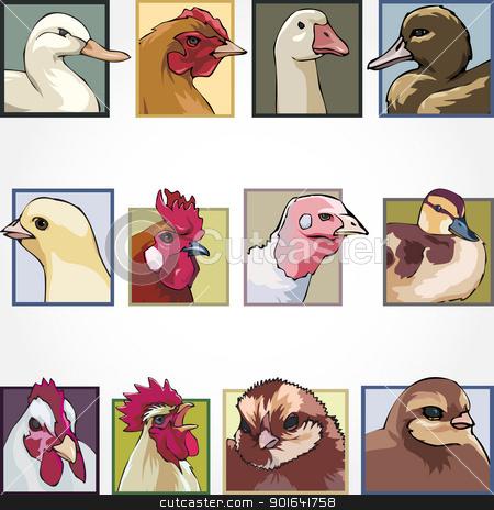 birds on a farm stock vector clipart, birds on a farm by Uliana Gureeva