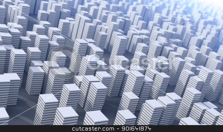 Futuristic city  stock photo, 3D abstract future city background by Mopic