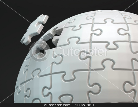 Last piece of the puzzle. stock photo, Last piece of the puzzle. A spherical jigsaw puzzle close up shot. by Mopic