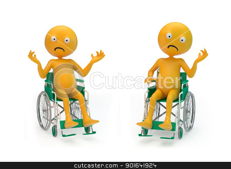 Smiley characters on a wheelchair stock photo, Two sad Smiley characters on a wheelchair by Mopic