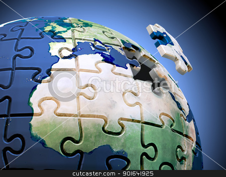 World Puzzle stock photo, Last piece of the puzzle. A spherical jigsaw puzzle with the World map by Mopic
