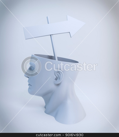 Head with an arrow stock photo, Strategy or a way of thinking concept - an arrow sign comming out of an open head by Mopic