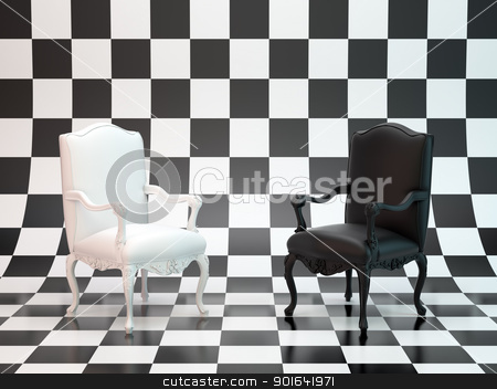 Black and white chairs stock photo, Black and white antique chairs on a checkerboard backdrop by Mopic