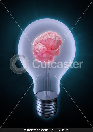 Brain in a bulb stock photo, Brain in a bulb - creativity concept by Mopic