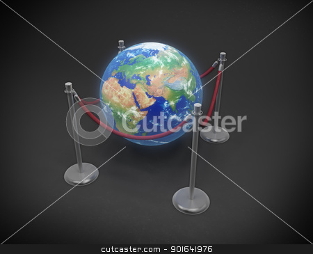 Earth Day concept stock photo, Earth Day concept - Earth globe surrounded by rope stanchions by Mopic