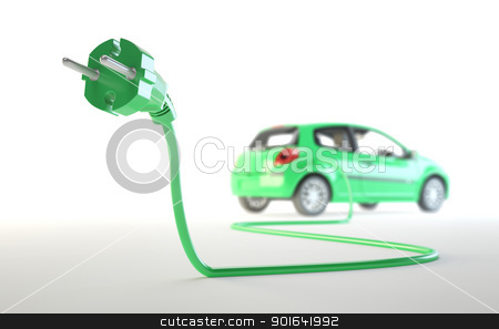 Electric car with a plug stock photo, Electric car being plugged - EV transport concept by Mopic