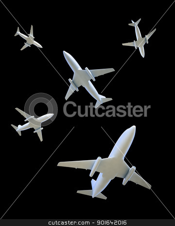 airplanes flying in different directions stock photo, Five airplanes flying in different directions on a dark sky by Mopic