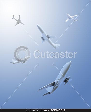 airplanes flying in different directions stock photo, Five airplanes flying in different directions over the viewer by Mopic