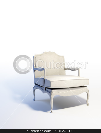 White armchair  stock photo, White armchair in an empty abstract interior  by Mopic