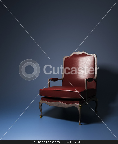 Red leather armchair stock photo, Red leather armchair in a dark interior  by Mopic