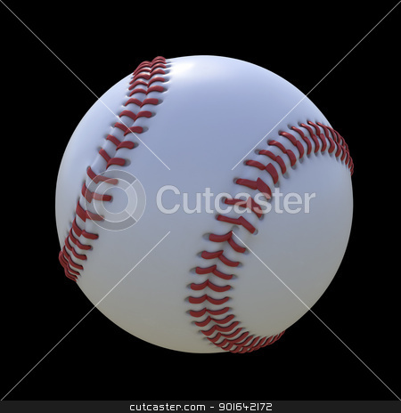 Baseball stock photo, Baseball isolated on a black background by Mopic