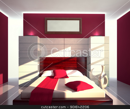 Red and white modern interior stock photo, Red and white modern bedroom view by Mopic