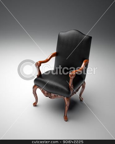 leather armchair stock photo, An empty black leather armchair by Mopic