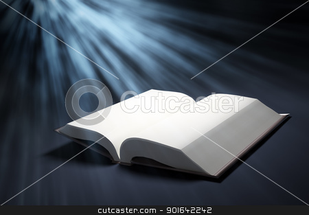 Open book stock photo, Open blank book with a ray of light from the above by Mopic