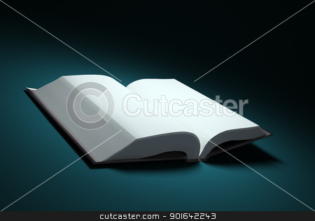 Open book stock photo, Open book with blank pages in a spotlight by Mopic