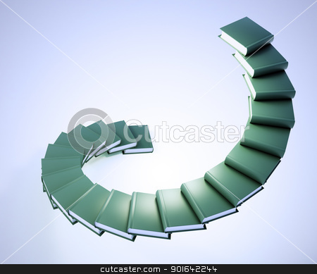 Spiral stairs made out of books  stock photo, Spiral stairs made out of books - education progress by Mopic