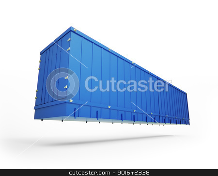 Blue shipping container stock photo, Blue shipping container floating  by Mopic