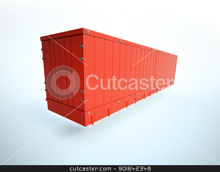 Red shipping container stock photo, Red shipping container background by Mopic