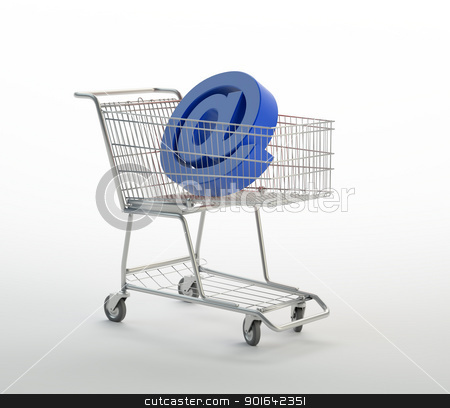 Shopping cart with @ stock photo, Shopping cart with @  sign  by Mopic