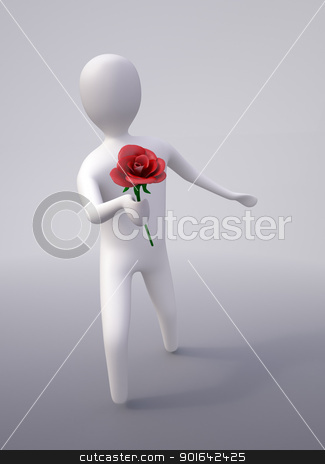 character with a red rose  stock photo, CG abstract character with a red rose  by Mopic