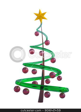 Abstract Christmas tree stock photo, Abstract Christmas tree on white background. by Mopic